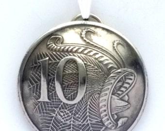 Lyre Bird Pendant, Australian Coin Pendant 10 Cents Vintage Necklace Jewelry Unique Charm Finding Bead Foreign World Australia Travel