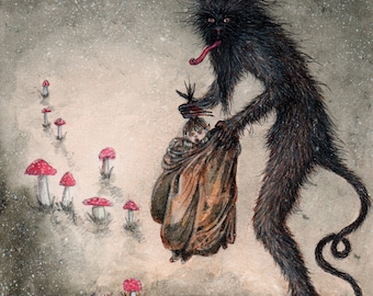 Krampus illustration (limited edition prints) by Kirsty Greenwood.