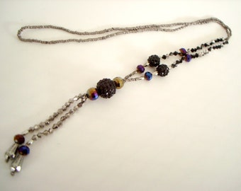 Bauble Long Statement Necklace in black textured, silver, and iridescent beads