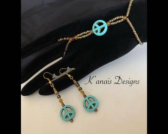 Peace sign slave bracelet with earrings