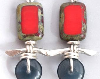 Red/Grey Czech Glass and Hand Forged Sterling Silver Earrings