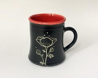 Hand Made Red Floral Poppy Mug