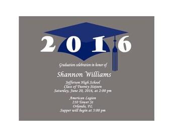 Printable Graduation Invitations - Graduation Invitation Cards - Graduation Party Invitations - Class of 2016 - Grad Invites  Blue Cap 389