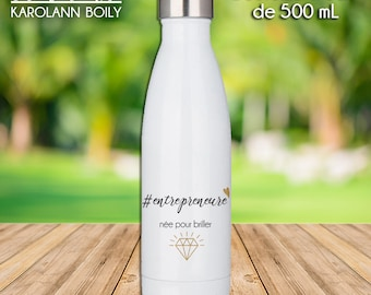 #Entrepreneure water bottle, born to shine in stainless steel, white or brushed silver metal, girlboss, gold, diamond, motivation