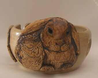 Big Cute Bunny Yarn Bowl  Stoneware Yarn Bowl With A Sleeping Owl