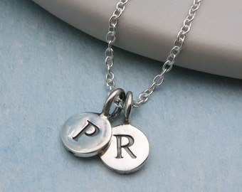 Sterling Silver Double Initial Necklace, Initials Necklace, Two Initial Personalized Necklace, Initial Jewelry, Customizable Jewelry