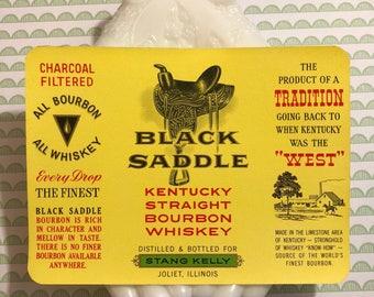 Label Black Saddle Kentucky Straight Bourbon Whiskey Vintage Ephemera Junk Journal Mixed Media Collage Altered Art