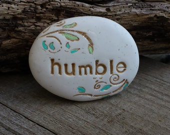humble hand painted inspirational message stone, blue and gold affirmation clay, thoughtful gift