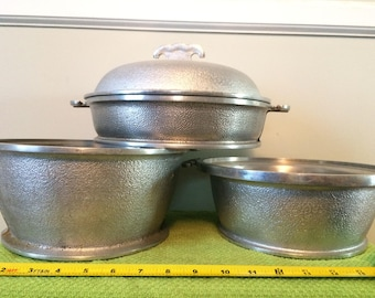 Five Piece Guardian Service Set including  Double Boiler and Stack-able Third Pot with Two Aluminum Lids