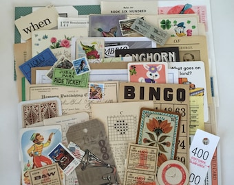 Large SCRAP Pack / 75 Pc. Ephemera Paper Pack INSPIRATION Kit for Altered Art, Collage, Mixed Media, DIY Scrap Kit
