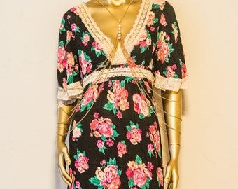 Floral 70s style Rayon dress
