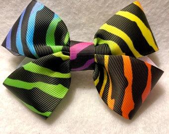 Girly Rainbow Zebra Bow