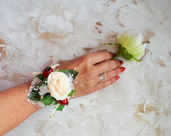 Christmas wrist corsage, maid of honour gift, boho chic, bridesmaid bracelet, wrap bracelet, bride gift, mother of the bride