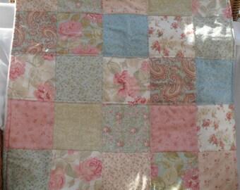 patchwork fleece backed baby blanket, floral patchwork pram quilt, baby blanket for baby girl