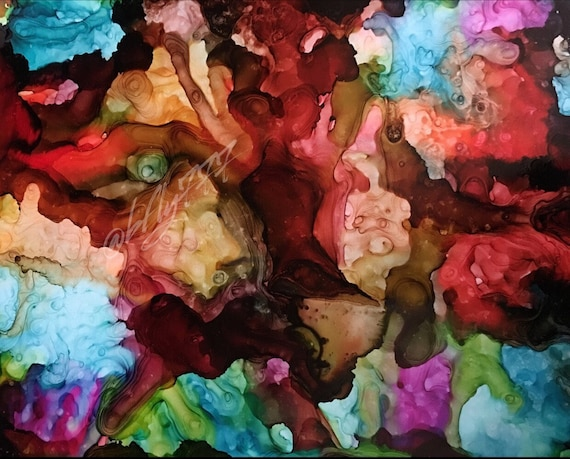 """Original Alcohol Ink Abstract: """"Whatever Lola Wants..."""" (11"""" X 14"""")"""