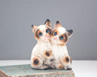 Vintage Cat Figurines, Pair of Kittens