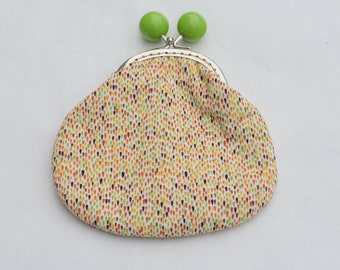 Mini Raindrops Large Coin Purse Change Pouch with Metal Kiss Clasp Lock Frame - READY TO SHIP