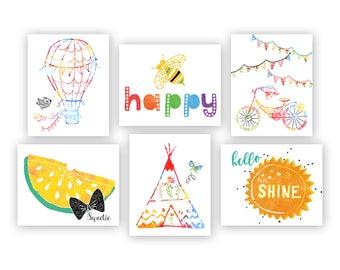 Fun Nursery Art Prints. Rainbow Nursery Art. Colorful Nursery Art. Rainbow Nursery Decor. Play room Prints. Daycare Prints Bright Be Happy