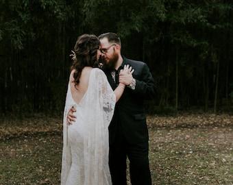 Courtney, Boho Butterfly Sleeves, Lace Mermaid Wedding Dress, Low Back, Silk