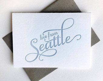Letterpress Regional Love card - Love from Seattle - Single card