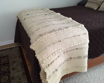 Vintage Textile Art Hand woven Wool Blanket/Coverlet/Spread/Twin/Ivory/Brown