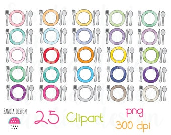 25 Doodle Cutlery Meal Clipart, Meal plan, fork, knife, spoon and plate clipart. Personal and comercial use.