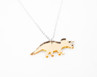 Triceratops Necklace, Dinosaur Necklace, Dinosaur Pendant, Land Before Time, Jurassic Park, Laser Cut Acrylic, Gift for Her, Gift for Teens