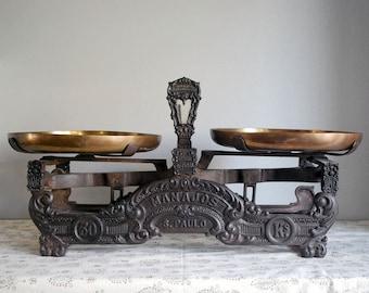 Cast Iron Scale, Antique Balance Scale, Brazilian Store Scale, Ornate Cast Iron, Rustic Farmhouse Decor, Brass Pans, Cabin Chic Decor