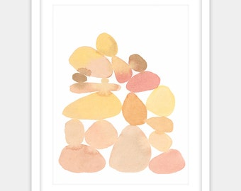 Digital image, little cairn of smooth pink and yellow stones, in an abstract watercolor art print for nursery or bedroom