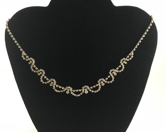 Rhinestone Silvertone  Crystal Necklace
