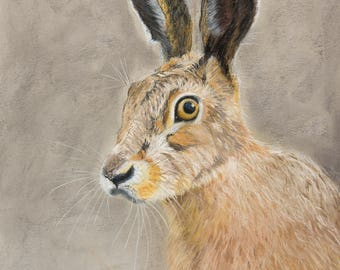 Harriette Hare - Limited Edition 16 x 12 Giclee Print by UK artist Angela Heiron - mounted on board