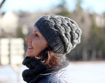Handknit hat wool hat Winter hat grey hat soft wool women hat warm hat hand knitted hat