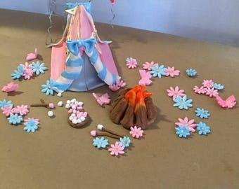Fondant Camping Cake Topper Set