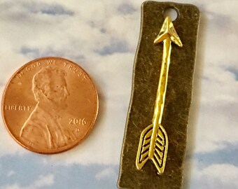 ARROW Gold on Bronze Hammered Pewter Pendant Backpack, Purse, Keychain Charm Jewelry Supply