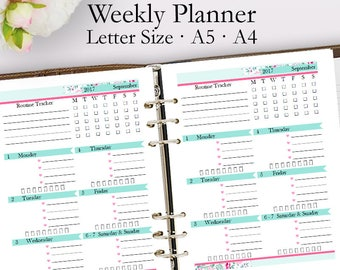 Editable Weekly Planner Template PDF, Weekly Planner Printable PDF, Schedule Template Printables, Blank Week, Letter A5 A4, Instant Download