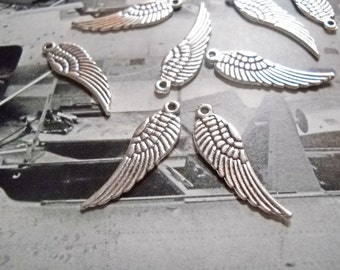 Angel Wing Charms Angel Wing Pendants Wings Antiqued Silver Angel Wings Charms 30mm 24 pieces Double Sided WIngs