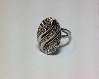 Vintage Sterling Silver Marcasite Large Oval Ring