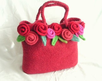 How to make Crochet Felted Flower Bag Pattern Tutorial, Crochet Rose Bag Pattern, instant download