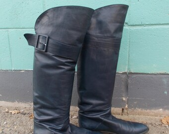 vintage navy over the knee boots flat riding boots - 80s