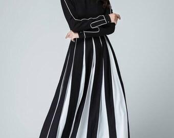 linen dress, black linen dress, long linen dress, long sleeve dress, maxi dress, woman dress, white and black dress, custom dress  1459