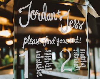 Custom Wedding Seating Chart Mirror