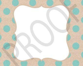 Digital Frame Set of 10---JPG (Flat) 12x12 Digital Paper Frames Polka Dot Pattern on Linen Texture Background