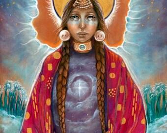 11x14 fine art print Creation shaman medicine woman hawk Native American spiritual