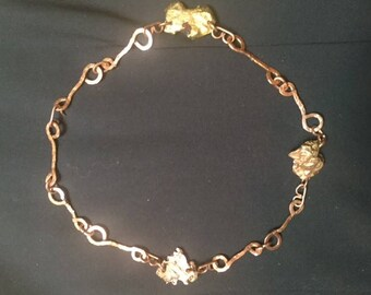Copper and Brass Pericles Handmade Nugget Necklace