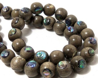 Graywood with Abalone Shell Inlay, 12mm, Round, Natural Wood and Shell, Handmade Artisan Bead, Large, Half Strand, 18pcs - ID 1795