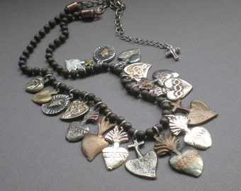 Sacred Heart Milagro Necklace... Chic Spanish Statement Decklace