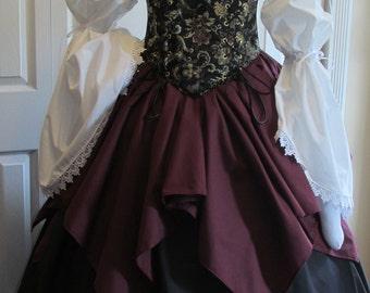DDNJ 4pc Reniassance Corset Style Underbust Bodice Chemise Skirt Plus Custom Made Any Size Anime Steampunk Cosplay Pirate Gypsy Costume larp