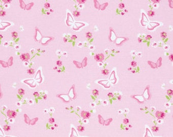 1 Yard Butterfly Floral in PINK / Zoey's Garden by Tanya Whelan Fabric /-  Cotton Quilting Fabric
