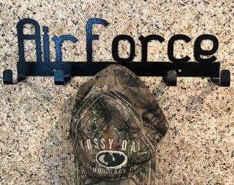 AIRFORCCE HAT HOLDER, hat hook, hat holder for wall, metal hat holder, air force, military, air force gift, military gift, veteran gift