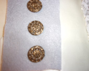 Vintage Brass Buttons with Silver Mirror in Background, Unique Vintage Collectible Buttons. Set of 3 Buttons